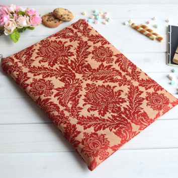 Red damask MacBook Air Pro 13 case, MacBook Pro Retina 13 case, MacBook 12 case, MacBook Air 11 case, MacBook 15 case, iPad Pro sleeve