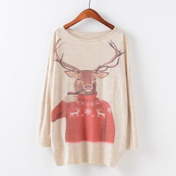 Animal Ugly Christmas Sweater slouchy