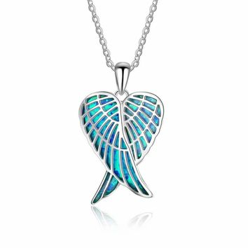 Sterling Silver Created Blue Opal Angel Wings Pendant Necklace