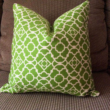 Handmade Decorative Pillow Cover - Green Lattice - Waverly Lovely Lattice Jungle