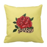 Vintage Retro Rose Mother Day Yellow Throw Pillows