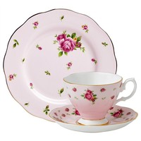Royal Albert 3-Piece New Country Roses Teacup, Saucer and Plate Set, Pink