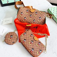 GUCCI x Disney Women Shopping Bag Leather Print Shoulder Bag Crossbody Satchel Set Three-Piece
