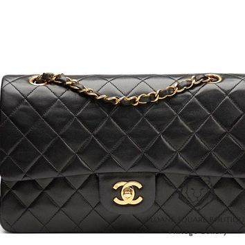 CHANEL BLACK QUILTED 2.55 LAMBSKIN VINTAGE MEDIUM CLASSIC DOUBLE FLAP BAG GHW S5