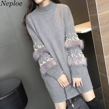 Neploe Beading Pearls Solid Roupas Feminina Patchwork Knitted Fashion Pullovers Autumn Winter Turtleneck Long Sweater 67952