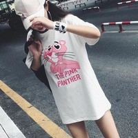 """Gucci"" Women Loose Casual Cute Cartoon Pink Panther Pattern Letter Print Short Sleeve T-shirt Dress"