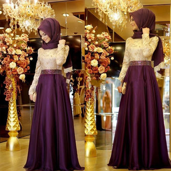 Real Photo Purple Formal Long Sleeve Muslim Evening Dress 2016 Hijab Abaya Moroccan Kaftan Bow Beaded Evening Gown Prom Dresses