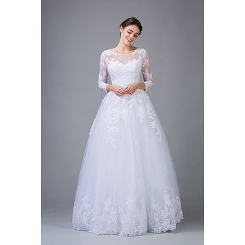 White Lace Wedding Ball Gown Long Sleeves Cut-Out Back