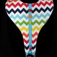 Rainbow Chevron Pacifier Bib - Chevron Paci Bib for Baby with Organic Cotton Fleece