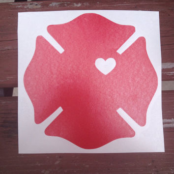 Firefighter Wife / Girlfriend Badge Decal With Cut Out Heart