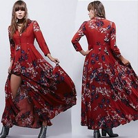 DCCKVQ8 Free People' Fashion Retro Multicolor  Print V-Neck Long Sleeve Buttons Cardigan Maxi Dress
