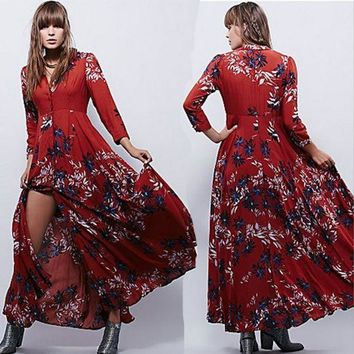 ONETOW Free People' Fashion Retro Multicolor  Print V-Neck Long Sleeve Buttons Cardigan Maxi Dress