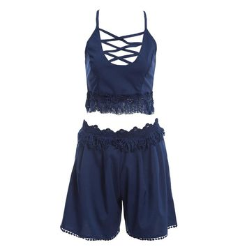 Sexy Spaghetti Strap Criss-Cross Fringed Tank Top + Mid Waist A-Line Shorts Twinset for Women