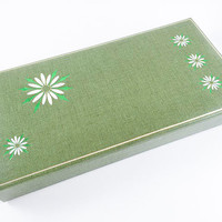 Vintage Jewelry Box Storage Box Green Flower Jewelry Box Green Sewing Box Craft Storage Craft Box Vanity Bathroom Storage Sewing Storage
