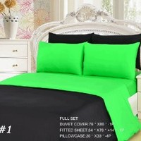 Tache 6 Piece 100% Cotton Lime Green/ Black Reversible Duvet Cover Set, Full