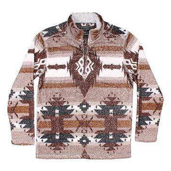 Double Plush Symbols 1/4 Zip Pullover in Brown by True Grit