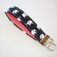 Key FOB / KeyChain / Wristlet - soft - dark navy Black with White Elephants with coral - coworker gift mothers day under 10