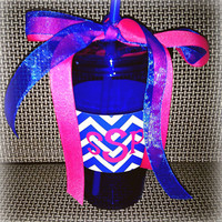 Personalized Tumbler Cup with Straw Blue and White Chevron with Pink Monogram or Initial Your Choice other prints Houndstooth Black Chevron