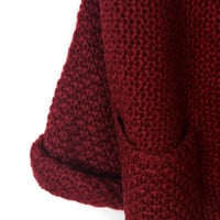Burgundy Lapel Pocket Detail Open Front Long Sleeve Knit Cardigan
