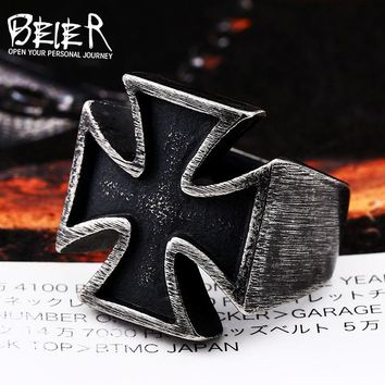 BEIER Old style  Unisex Black Sureface For Woman And Man Stainless Steel Gothic Punk Cross Finger Ring Gift Jewelry BR8-505