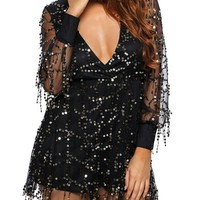 Casual Glitter Hollow Out Deep V-Neck Romper