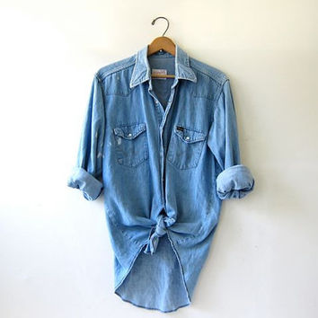 vintage 80s Wrangler denim jean shirt. Distressed Bleached Out. Washed out pearl snap button down shirt. Denim boyfriend shirt