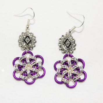 Delicate Purple and Silver Chainmaille Earrings