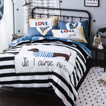 Svetanya Dog Printing Bedding Set for Single Double Bed 100% Cotton Fabric with Blue Stripes