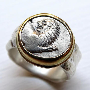 ancient lion coin ring gold silver, unique coin ring mens, ancient Greek silver coin, authentic Cherronesos Lion coin silver 400BC