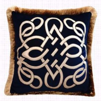 """Blue Louvre Pillow Embellished With Trim 20""""X20"""""""
