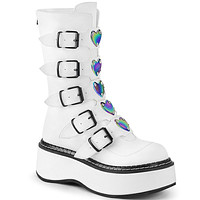 Emily 330 Goth White Matte Ankle Boots Heart Plate Combat Boots 6-12
