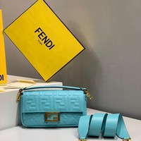 Fendi Fashion Lake blue Women Leather Crossbody handbags Shoulder Bag