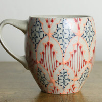 Coffee Mug - Handmade Ceramic Cup with Melon Pink, Navy and Red Pattern