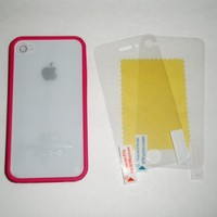 (HOT PINK) See thru - Transparent Case With Semi Soft Bumper Frame All Around The Edges and Clear See thru PC Hard Back Cover Case - For Verizon / ATT / Sprint iphone 4S ** (Boundled: Front Screen & Back Case Clear Protectors) **