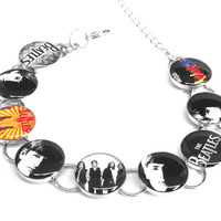 The Beatles Rock and Roll Vintage Silver Plated Resin Link Bracelet English England Music