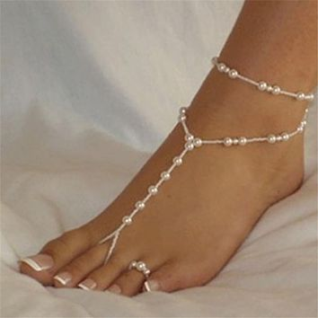 Pearl Anklet Foot Jewelry Set