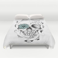 Poetic Wooden Skull Duvet Cover by LouJah