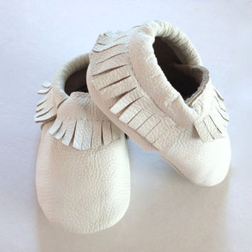 White Leather Baby Moccasins, Moccs, Baby/Toddler, Shoes, Genuine Leather, Moccasins, Baby Shoes, Toddler Shoes, Leather, Modern, Trendy