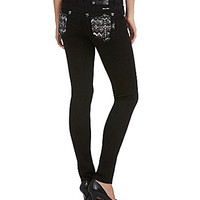 Miss Me Cross-Pocket Skinny Jeans - Black