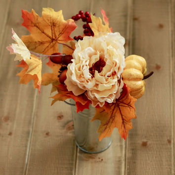 SALE Fall Floral Arrangement- Peony Yellow Acorn and Autumn Leaves