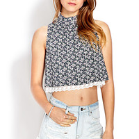 FOREVER 21 Dainty Floral Crop Top Navy/White