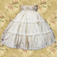 Short White Cotton Sweet Lolita Skirt With Lace Hemline