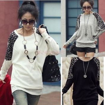 DCCKIX3 Batwing Dolman Long Sleeve Crew Neck Leopard Cotton Casual Top T-Shirt Blouses 3330