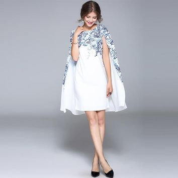 New arrival summer brand fashion women elegant cape sleeve dress floral print sexy white dresses
