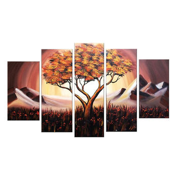 Brown Tree of Life Landscape Canvas Wall Art Oil Painting