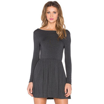 Long-Sleeved Knit Halter Dress in Dark Gray