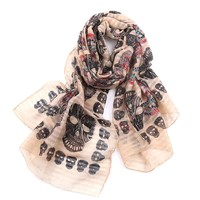Skull Skulls Halloween Fall High quality ghosts classic scarf color  head seaside holiday sunscreen air conditioning shawl scarf woman Calavera
