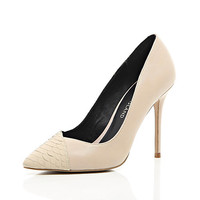 River Island Womens Nude contrast toe cap point pumps