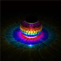 Solar Powered Mosaic Glass Color Changing Rainbow LED Light Rechargeable/ Waterproof Night Light for Indoor Outdoor Decorations