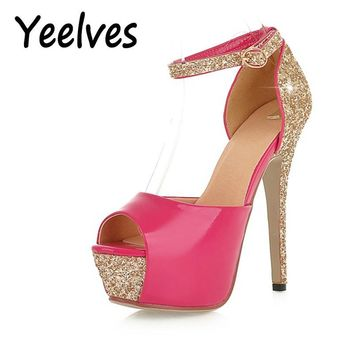 Yeelves Wedding Summer Fashion Pumps Thin Heeled Sandals Bride Women Super High Heels Night Club Party Bling Shoes Gold Rose Red